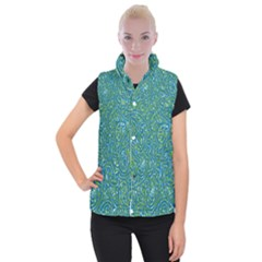Abstract Blue Green Jungle Paisley Women s Button Up Vest