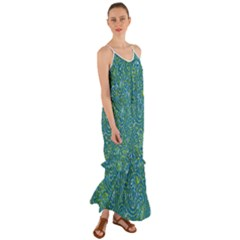 Abstract Blue Green Jungle Paisley Cami Maxi Ruffle Chiffon Dress by SpinnyChairDesigns