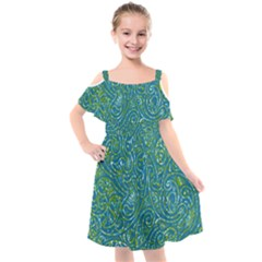 Abstract Blue Green Jungle Paisley Kids  Cut Out Shoulders Chiffon Dress