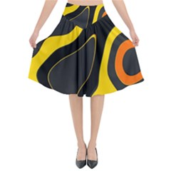 Yellow Black Orange Abstract Art Pattern Flared Midi Skirt