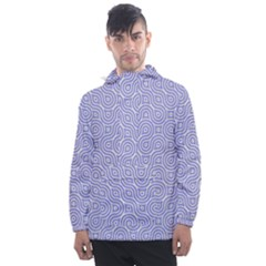 Royal Purple Grey And White Truchet Pattern Men s Front Pocket Pullover Windbreaker by SpinnyChairDesigns