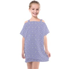 Royal Purple Grey And White Truchet Pattern Kids  One Piece Chiffon Dress