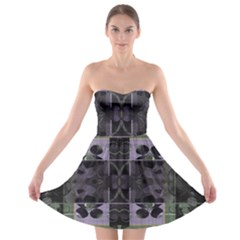 Chive Purple Black Abstract Art Pattern Strapless Bra Top Dress