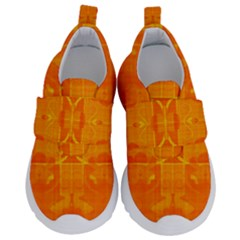 Orange Peel Abstract Batik Pattern Kids  Velcro No Lace Shoes