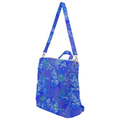 Bright Blue Paint Splatters Crossbody Backpack by SpinnyChairDesigns