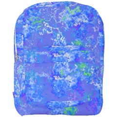 Bright Blue Paint Splatters Full Print Backpack by SpinnyChairDesigns