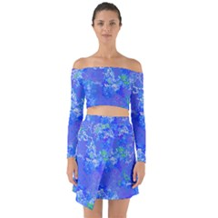 Bright Blue Paint Splatters Off Shoulder Top With Skirt Set