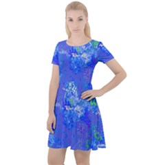 Bright Blue Paint Splatters Cap Sleeve Velour Dress  by SpinnyChairDesigns