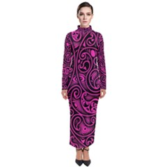 Hot Pink And Black Paisley Swirls Turtleneck Maxi Dress by SpinnyChairDesigns