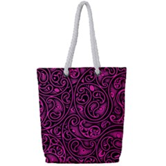 Hot Pink And Black Paisley Swirls Full Print Rope Handle Tote (small)