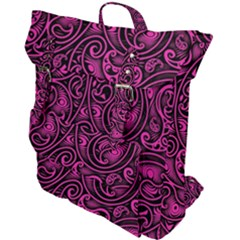 Hot Pink And Black Paisley Swirls Buckle Up Backpack by SpinnyChairDesigns