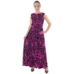 Hot Pink And Black Paisley Swirls Chiffon Mesh Boho Maxi Dress by SpinnyChairDesigns