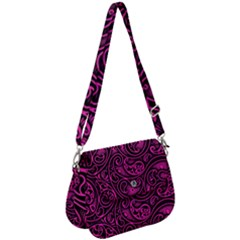Hot Pink And Black Paisley Swirls Saddle Handbag by SpinnyChairDesigns