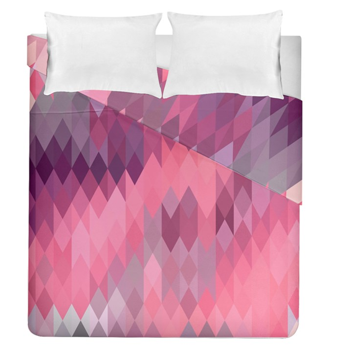 Pink Purple Diamond Pattern Duvet Cover Double Side (Queen Size)