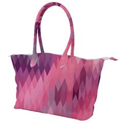 Pink Purple Diamond Pattern Canvas Shoulder Bag