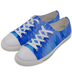 Aqua Blue Diamond Pattern Women s Low Top Canvas Sneakers by SpinnyChairDesigns