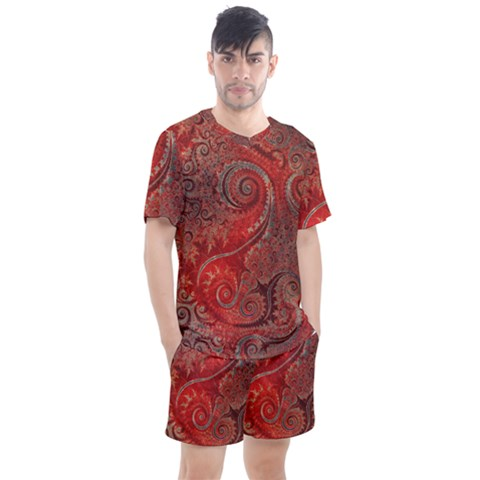 Scarlet Red Grey Brown Swirls Spirals Men s Mesh Tee And Shorts Set by SpinnyChairDesigns