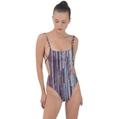 Abstract Grunge Stripes Red White Green Tie Strap One Piece Swimsuit