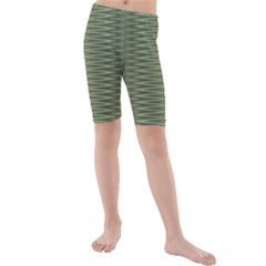 Chive And Olive Stripes Pattern Kids  Mid Length Swim Shorts