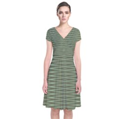 Chive And Olive Stripes Pattern Short Sleeve Front Wrap Dress