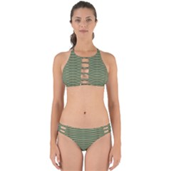 Chive And Olive Stripes Pattern Perfectly Cut Out Bikini Set