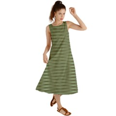 Chive And Olive Stripes Pattern Summer Maxi Dress