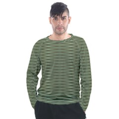 Chive And Olive Stripes Pattern Men s Long Sleeve Raglan Tee