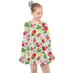 Huayi-vinyl-backdrops-for-photography-strawberry-wall-decoration-photo-backdrop-background-baby-show Kids  Long Sleeve Dress by Sobalvarro
