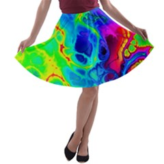 Abstract Art Tie Dye Rainbow A-line Skater Skirt