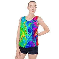 Abstract Art Tie Dye Rainbow Bubble Hem Chiffon Tank Top