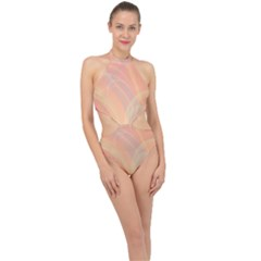 Coral Cream Abstract Art Pattern Halter Side Cut Swimsuit by SpinnyChairDesigns