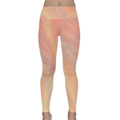 Coral Cream Abstract Art Pattern Lightweight Velour Classic Yoga Leggings