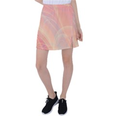 Coral Cream Abstract Art Pattern Tennis Skirt by SpinnyChairDesigns