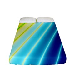 Sporty Stripes Swoosh Green Blue Fitted Sheet (full/ Double Size) by SpinnyChairDesigns
