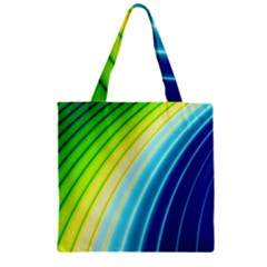 Sporty Stripes Swoosh Green Blue Zipper Grocery Tote Bag by SpinnyChairDesigns