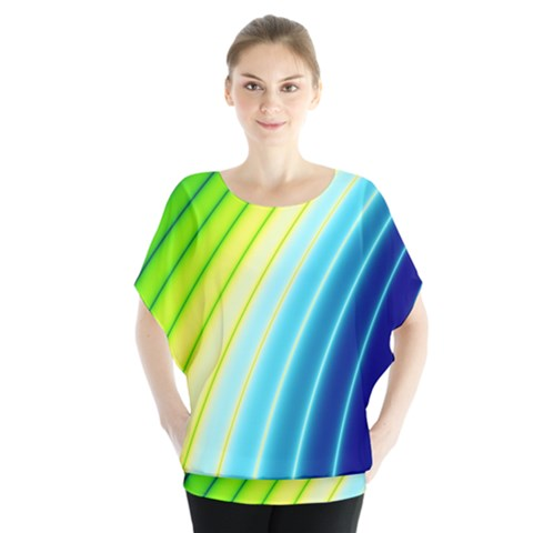 Sporty Stripes Swoosh Green Blue Batwing Chiffon Blouse by SpinnyChairDesigns