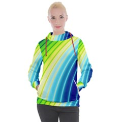 Sporty Stripes Swoosh Green Blue Women s Hooded Pullover by SpinnyChairDesigns