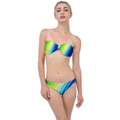 Sporty Stripes Swoosh Green Blue Classic Bandeau Bikini Set