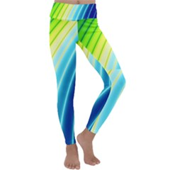 Sporty Stripes Swoosh Green Blue Kids  Lightweight Velour Classic Yoga Leggings by SpinnyChairDesigns