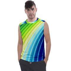 Sporty Stripes Swoosh Green Blue Men s Regular Tank Top by SpinnyChairDesigns