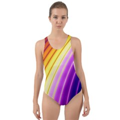 Sporty Stripes Swoosh Purple Gold Red Cut-out Back One Piece Swimsuit by SpinnyChairDesigns
