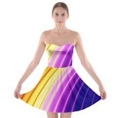 Sporty Stripes Swoosh Purple Gold Red Strapless Bra Top Dress by SpinnyChairDesigns