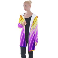 Sporty Stripes Swoosh Purple Gold Red Longline Hooded Cardigan