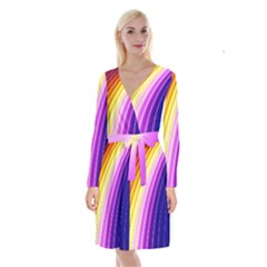 Sporty Stripes Swoosh Purple Gold Red Long Sleeve Velvet Front Wrap Dress by SpinnyChairDesigns
