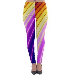 Sporty Stripes Swoosh Purple Gold Red Lightweight Velour Leggings by SpinnyChairDesigns