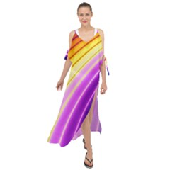 Sporty Stripes Swoosh Purple Gold Red Maxi Chiffon Cover Up Dress by SpinnyChairDesigns