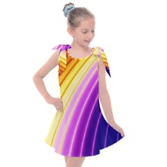 Sporty Stripes Swoosh Purple Gold Red Kids  Tie Up Tunic Dress by SpinnyChairDesigns