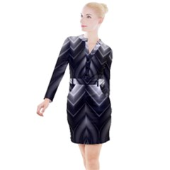 Black And Silver Pattern Button Long Sleeve Dress