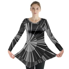 Abstract Black And White Stripes Long Sleeve Tunic