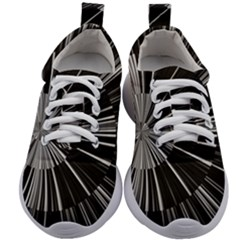 Abstract Black And White Stripes Kids Athletic Shoes